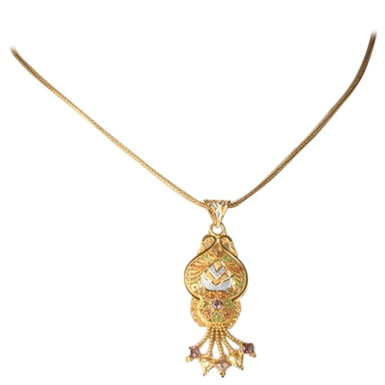 22 Karat Gold and Diamond Pendant Necklace