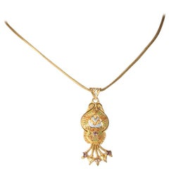 22 Karat Gold and Diamond Pendant Necklace