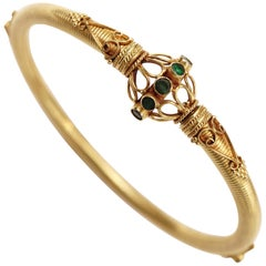 22 Karat Gold and Emerald Bangle Bracelet
