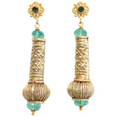 22 Karat Gold and Emerald Earrings by Deborah Lockhart Phillips