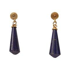 22 Karat Gold and Lapis Lazuli Drop Earrings