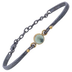 22 Karat Gold and Oxidized Sterling Silver Cabochon Prehnite Adjustable Bracelet