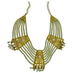 22 Karat Gold and Pearl Multi Layer Necklace Bridal Princess Necklace
