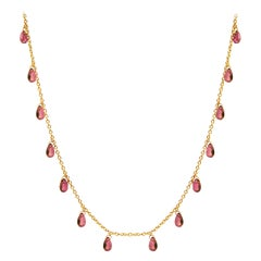 GURHAN 22 Karat Yellow Gold and Pink Tourmaline Briolette Necklace