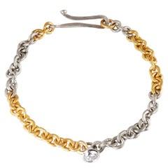 22 Karat Gold and Platinum Link Bracelet Set with Brilliant Cut Diamond 0.84cts