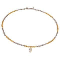 22 Karat Gold and Platinum Link Necklace with Marquise Diamond