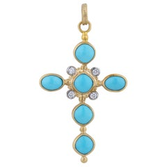 22 Karat Gold and Turquoise, Diamond Cross Pendant Necklace