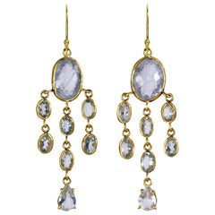 22 Karat Gold Aquamarine Chandelier Earrings