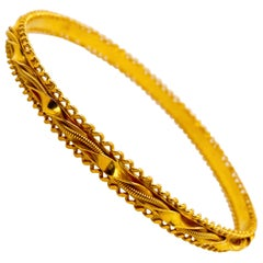 22 Karat Gold Bangle Bracelet, 22 Karat Yellow Gold Filigree Bangle Bracelet