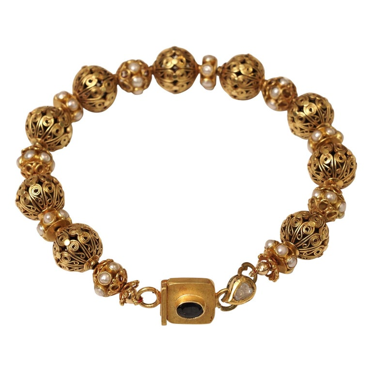 22 Karat Gold Bead Bracelet Pearl Rondelles by Deborah Lockhart Phillips For Sale