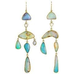 22 Karat Gold Boulder Opal and Rose Cut Diamond Modern Chandelier Earrings