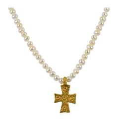 22 Karat Gold Byzantine Cross Pendant and Freshwater Pearl Beaded Necklace
