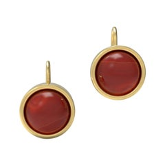 22 Karat Gold Cabochon Earrings by Romae Jewelry Inspired by Ancient Designs