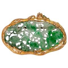 22 Karat Gold Carved Jadeite Brooch Pin