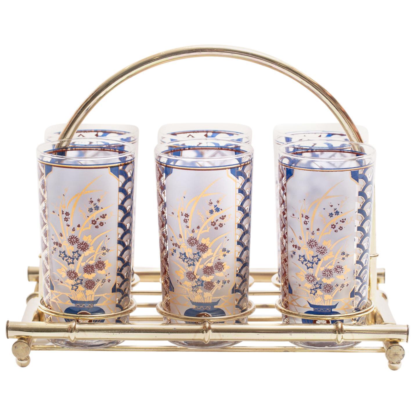 22-Karat Gold Chinoiserie Themed Tumbler Glasses & Brass Bamboo Caddy c. 1960s