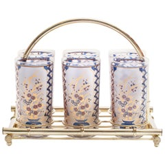 22-Karat Gold Chinoiserie Themed Tumbler Glasses & Brass Bamboo Caddy c. 1960s