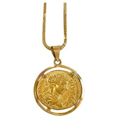 22 Karat Gold Coin Pendant 18 Karat Necklace