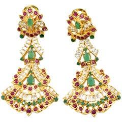 22 Karat Gold Cubic Zirconia, Ruby, Emerald India Style Omega Back Earrings