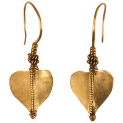 22 Karat Gold Leaf Earrings from India