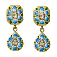 22 Karat Gold Diamond Dangle Earring Handcrafted with Blue and Pink Enamel Work