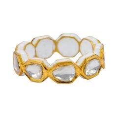 22 Karat Gold Diamond Eternity Full-Band Ring with White Enamel Work