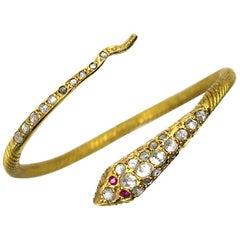 22 Karat Gold Diamond Ruby Coil Snake Bracelet