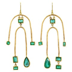 22 Karat Gold Double Arch Ethically Sourced Zambian Emerald Earrings
