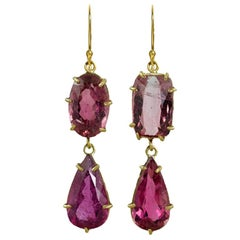 22 Karat Gold Double Drop Juicy Pink Tourmaline Earrings