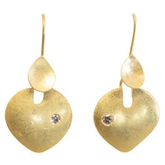 22 Karat Gold Drop Earrings with Diamond