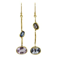 22 Karat Gold Drunken Blue Beryl and Tanzanite Asymmetric Earrings