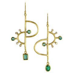 22 Karat Gold Emerald and Diamond Asymmetric Mobile Earrings