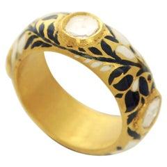 22 Karat Gold Enamel and Diamond Ring Band