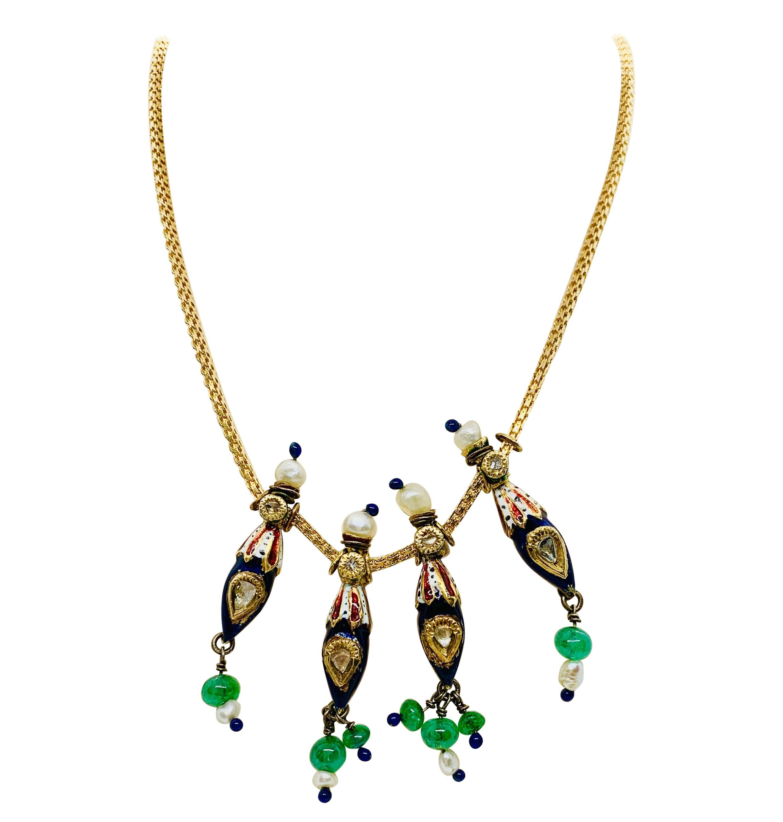 22 Karat Gold Enamel Diamond Emerald and Pearl Necklace Gene Tierney Estate