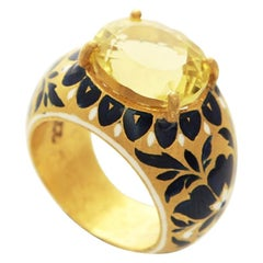 22 Karat Gold, Enamel, Yellow Topaz Heirloom Ring