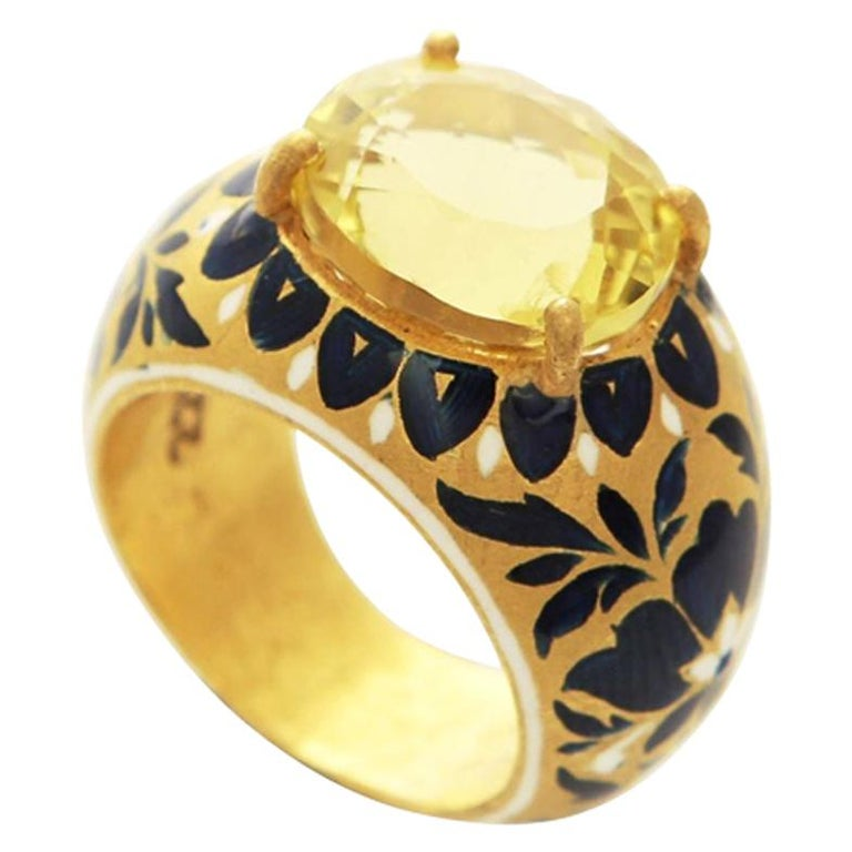 22 Karat Gold, Enamel, Yellow Topaz Heirloom Ring For Sale