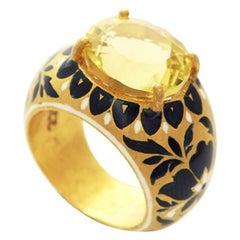 22 Karat Gold, Enamel, Yellow Topaz Heirloom Ring