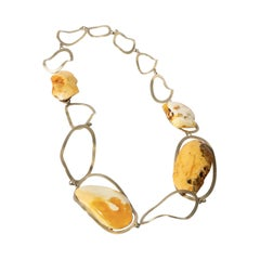 22 Karat Gold, Estonian White Amber Necklace
