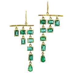 22 Karat Gold Ethically Sourced Gemfields Zambian Emerald Cascade Earrings