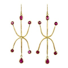 22 Karat Gold Gemfields Ethically Sourced Mozambique Ruby Earrings