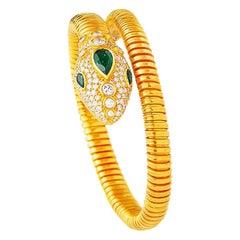 22 Karat Gold Green Garnet Diamond Snake Head Tubogas Flexible Cuff Bracelet