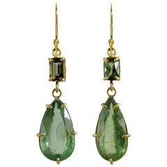 22 Karat Gold Green Tourmaline and Kyanite Two-Stone Drop Earrings