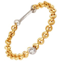 22 Karat Gold Hammered Link Bracelet with Platinum Set Old Cut Diamond 0.72cts