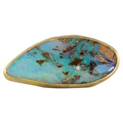 Margery Hirschey 22 Karat Gold Handcrafted Boulder Opal Ring with Matrix