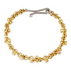 22 Karat Gold Handmade Link Bracelet with Brilliant Cut Diamond Charms