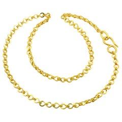 22 Karat Gold Handmade Woven Roman Link Chain Necklace