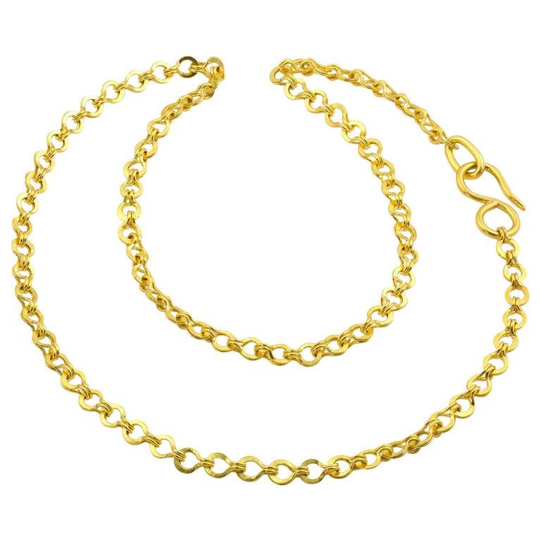 22 Karat Gold Handmade Woven Roman Link Chain Necklace For Sale