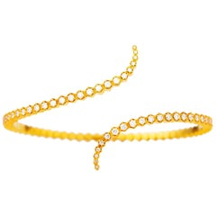 22 Karat Gold Honeycomb Form Flexible Diamond Cuff Bracelet