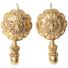 22 Karat Gold Indian Earrings, Early 1900s
