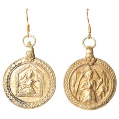 22 Karat Gold Indian Pendant Dangle Earrings, Mid-1900s