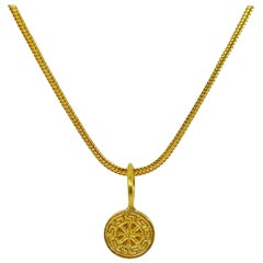 22 Karat Gold Ixthus Charm on 18 Karat Chain Necklace